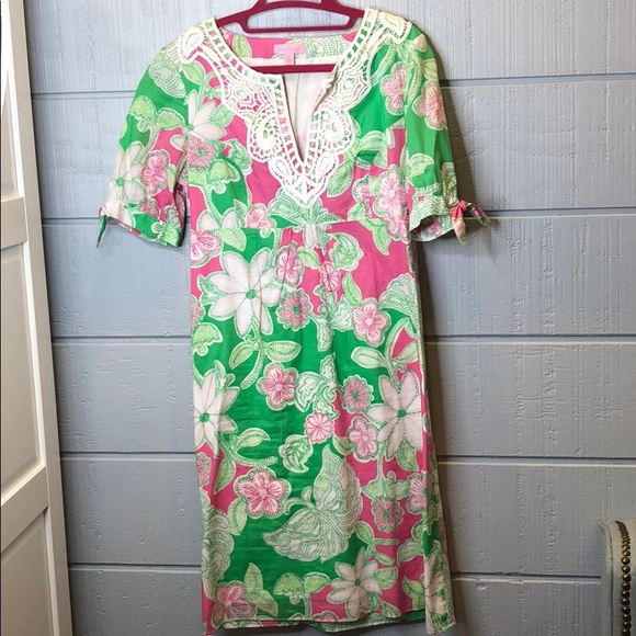 Lilly Pulitzer pink green floral tie sleeve dress